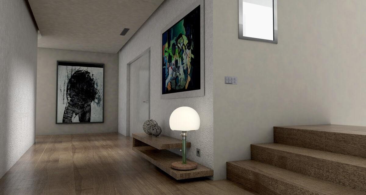 Большой холл выполненный в минималистичном дизайне